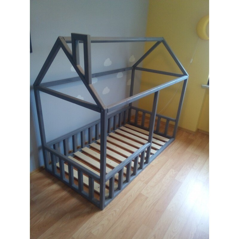 łóżko Domek Pod Materac 160x80 Z Kominem Stalowe Nóżki Bez Nóżek